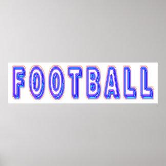 Fútbol de neón del resplandor póster