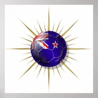 Fútbol de Nueva Zelanda todos los blancos Starburs Póster