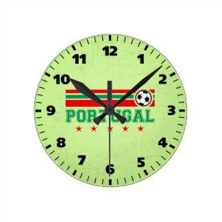 Fútbol de Portugal Reloj Redondo Mediano