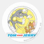 Fútbol de Tom y Jerry (fútbol) 8 Pegatina Redonda