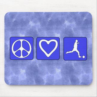 Fútbol del amor de la paz alfombrilla de ratones