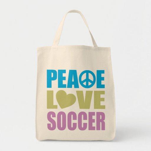 Fútbol del amor de la paz bolsa lienzo