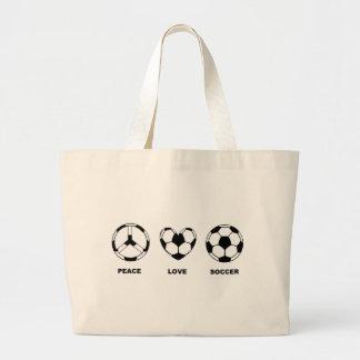Fútbol del amor de la paz bolsa tela grande