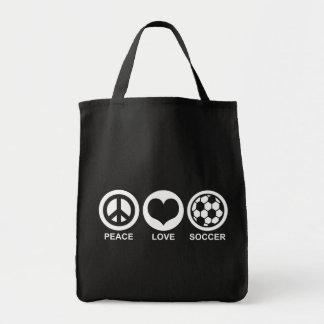 Fútbol del amor de la paz bolsa tela para la compra