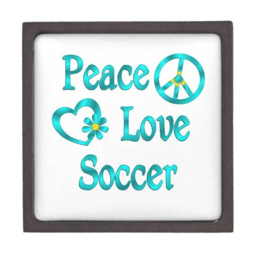 Fútbol del amor de la paz cajas de recuerdo de calidad