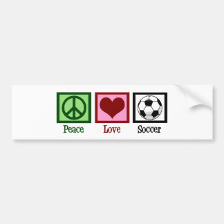 Fútbol del amor de la paz etiqueta de parachoque