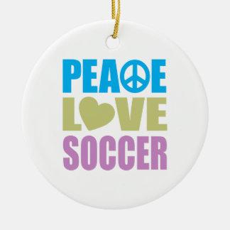 Fútbol del amor de la paz ornamento de navidad