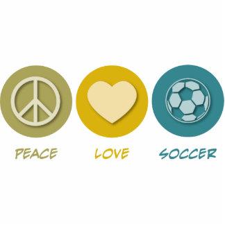 Fútbol del amor de la paz esculturas fotográficas
