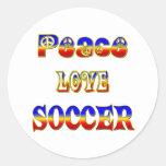 Fútbol del amor de la paz etiquetas redondas