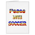 Fútbol del amor de la paz felicitaciones