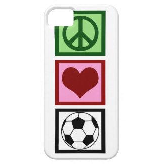 Fútbol del amor de la paz funda para iPhone 5 barely there