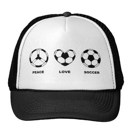 Fútbol del amor de la paz gorra