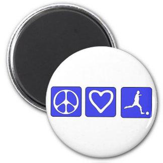 Fútbol del amor de la paz imanes
