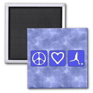 Fútbol del amor de la paz imán de frigorífico