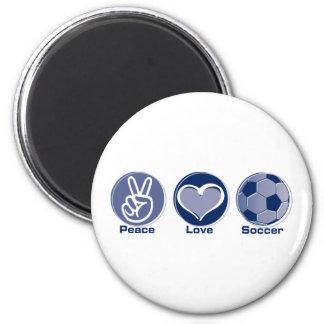 Fútbol del amor de la paz imanes para frigoríficos