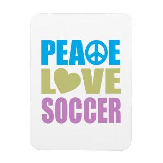 Fútbol del amor de la paz imanes de vinilo