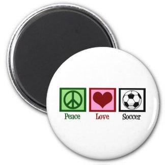 Fútbol del amor de la paz imán redondo 5 cm