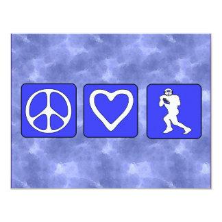 Fútbol del amor de la paz invitación 10,8 x 13,9 cm