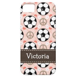 Fútbol del amor de la paz iPhone 5 funda