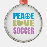 Fútbol del amor de la paz ornamentos de navidad