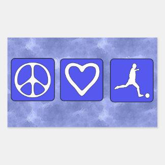 Fútbol del amor de la paz rectangular pegatinas
