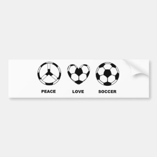 Fútbol del amor de la paz pegatina para auto