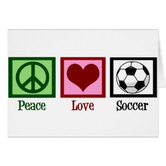Fútbol del amor de la paz tarjeta de felicitación