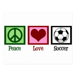 Fútbol del amor de la paz tarjeta postal