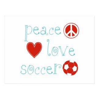 Fútbol del amor de la paz postal