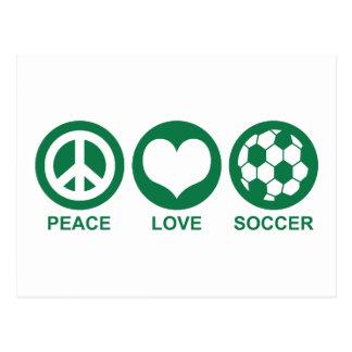 Fútbol del amor de la paz tarjetas postales