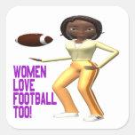 Fútbol del amor de las mujeres también calcomanía cuadrada personalizada