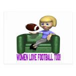 Fútbol del amor de las mujeres también tarjeta postal