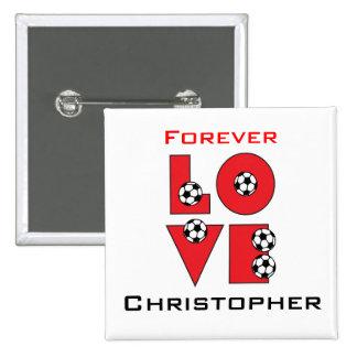 Fútbol del amor en rojo pin cuadrada 5 cm