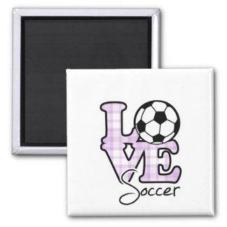 Fútbol del amor imán cuadrado