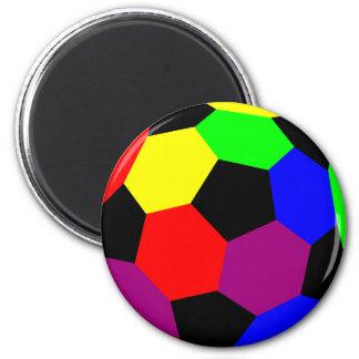 Fútbol del arco iris en la nación del arco iris imán redondo 5 cm