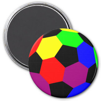 Fútbol del arco iris en la nación del arco iris imán redondo 7 cm