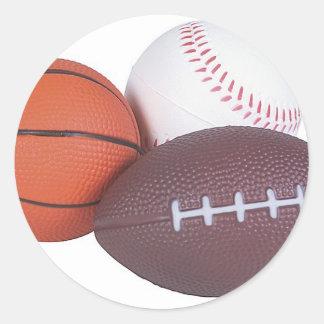 Fútbol del béisbol del baloncesto de los regalos pegatina redonda