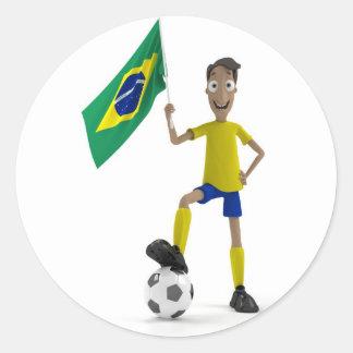 Fútbol del Brasil Etiquetas Redondas