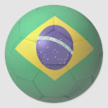 Fútbol del Brasil Pegatinas Redondas
