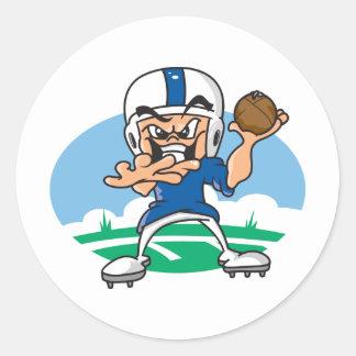 Fútbol del dibujo animado etiqueta redonda