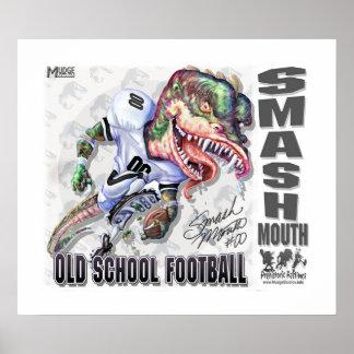 Fútbol del dinosaurio de la boca del choque poster