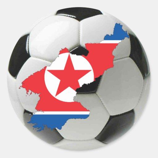 Fútbol del fútbol de Corea del Norte Pegatina Redonda