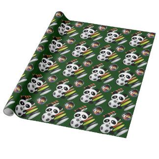Fútbol del fútbol de la panda de la fan de papel de regalo