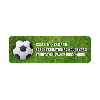 Fútbol del fútbol en la hierba etiqueta de remitente