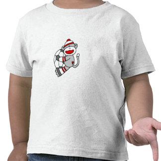 Fútbol del mono del calcetín camisetas