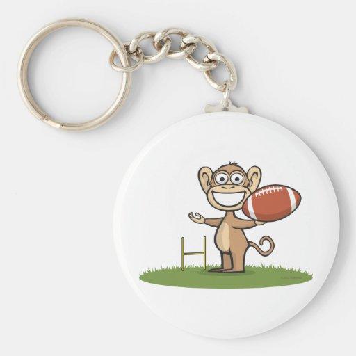 Fútbol del mono llavero redondo tipo pin