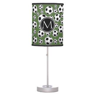 Fútbol del monograma - top del árbol lámpara de mesa