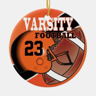 Fútbol del naranja y del negro del equipo adorno navideño redondo de cerámica