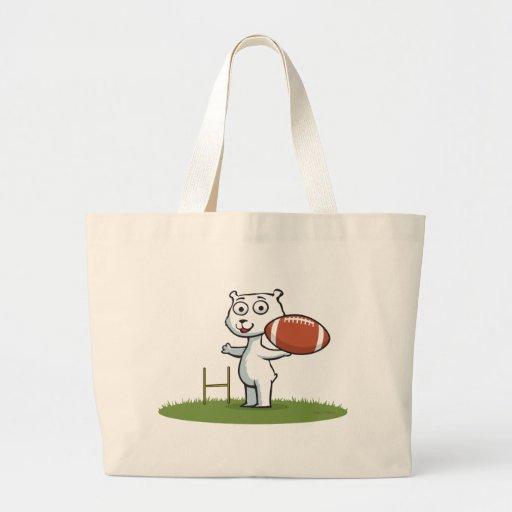 Fútbol del oso polar bolsa tela grande