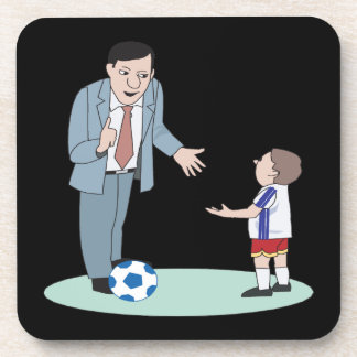 Fútbol del padre y del hijo posavasos